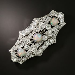Art Deco Opal and Diamond Brooch - 2