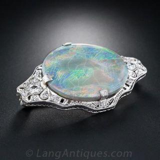 Art Deco Opal and Diamond Brooch - 1