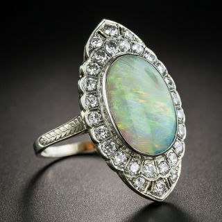 Art Deco Opal Diamond Dinner Ring