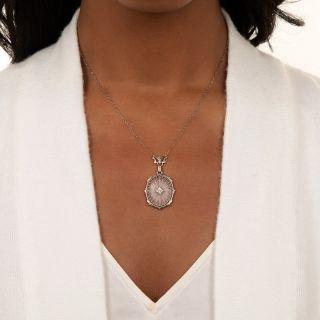 Art Deco Oval Rock Crystal Quartz and Diamond Lavalier