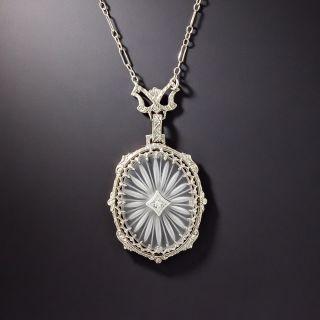 Art Deco Oval Rock Crystal Quartz and Diamond Lavalier - 1