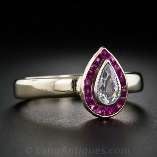 Art Deco Pear Shape Diamond and Calibre Ruby Ring