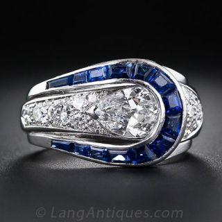 Art Deco Pear-Shape Diamond and Sapphire Ring - 1