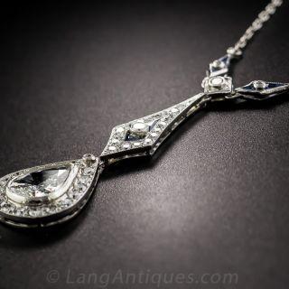 Art Deco Pear Shape Diamond Platinum Drop