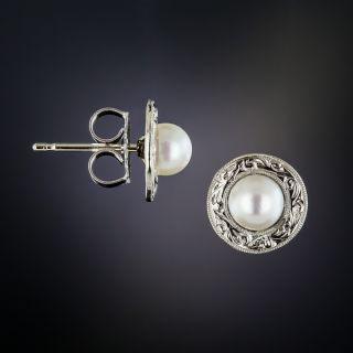 Art Deco Pearl Ear Studs