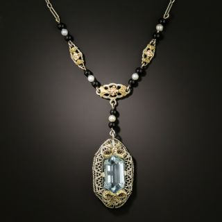 Art Deco Pearl, Onyx and Aquamarine Necklace by H. Kroll - 3