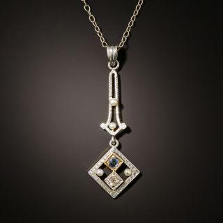 Art Deco Petite Diamond, Sapphire and Pearl Pendant - 3