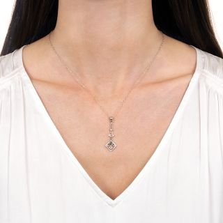 Art Deco Petite Diamond, Sapphire and Pearl Pendant