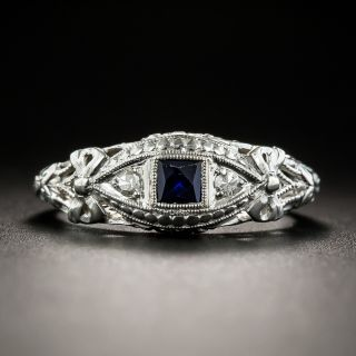 Art Deco Petite Synthetic Sapphire and Diamond Ring - 1