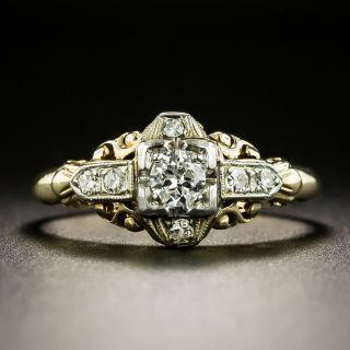 Art Deco Petite Two-Tone Diamond Engagement Ring - 2