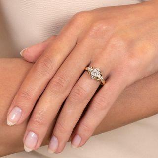 Art Deco Petite Two-Tone Diamond Engagement Ring
