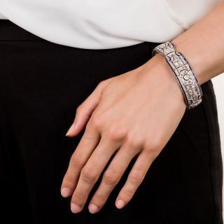 Art Deco Pierced Diamond and Synthetic Sapphire Bracelet