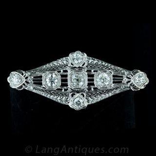 Art Deco Pierced Diamond Pin Main View