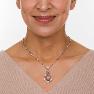 Art Deco Pink Topaz and Diamond Drop Pendant