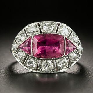Art Deco Pink Tourmaline and Diamond Ring  - 2