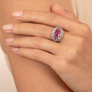 Art Deco Pink Tourmaline and Diamond Ring