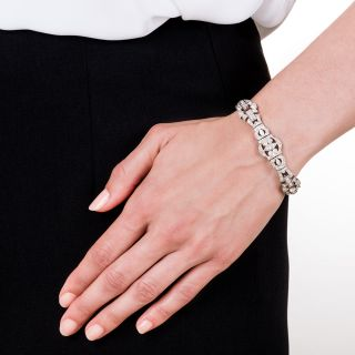 Art Deco Platinum and Diamond Bracelet signed 'C.D. Gunnell'