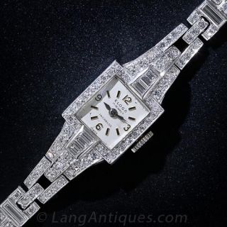 Art Deco Platinum and Diamond Bracelet Watch