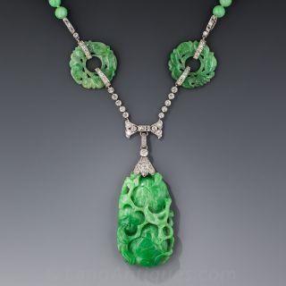 Art Deco Platinum and Diamond Carved Jade Necklace