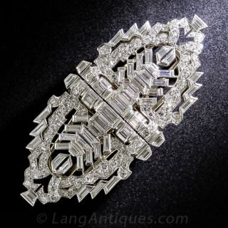 Art Deco Platinum and Diamond Clips and Brooch - 1