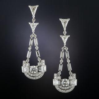 Art Deco Platinum and Diamond Dangle Earrings