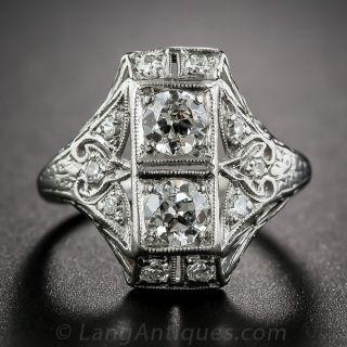 Art Deco Platinum and Diamond Dinner Ring - size 3 1/4