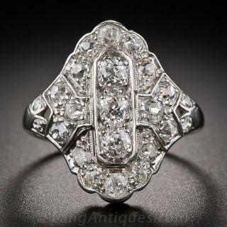 Art Deco Platinum and Diamond Dinner Ring - 1