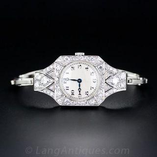 Art Deco Platinum and Diamond Watch with Expanding Bracelet