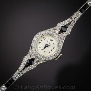 Art Deco Platinum, Diamond and Onyx Bracelet Watch