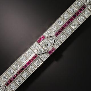 Art Deco Platinum Diamond and Ruby Bracelet - 1