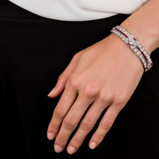 Art Deco Platinum Diamond and Ruby Bracelet