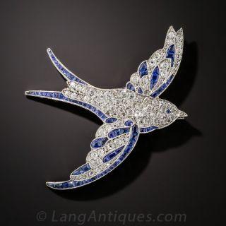 Art Deco Platinum Diamond and Sapphire Bird Pin