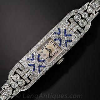 Art Deco Platinum, Diamond and Sapphire Bracelet Watch