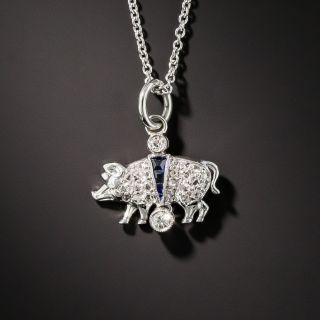 Art Deco Platinum Diamond and Sapphire Pig Charm Pendant
