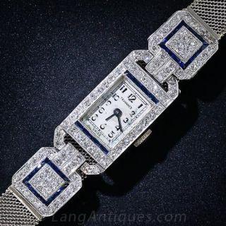 Art Deco Platinum, Diamond and Sapphire Watch - 1