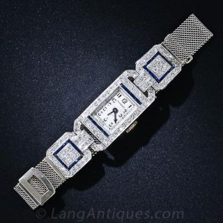 Art Deco Platinum, Diamond and Sapphire Watch