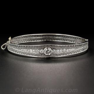 Art Deco Platinum Diamond Bangle Bracelet