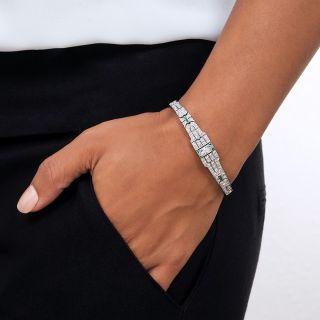 Art Deco Platinum Diamond Calibre Emerald Bracelet