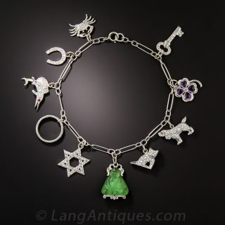 Art Deco Platinum Diamond Charm Bracelet