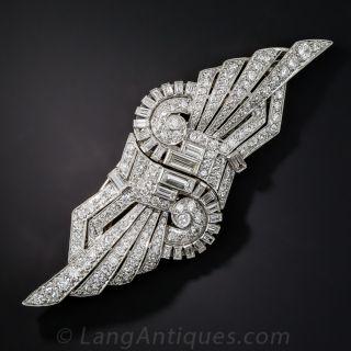 Art Deco Platinum Diamond Clips/Brooch  - 1