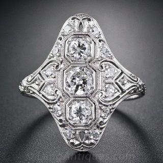 Art Deco Platinum Diamond Dinner Ring - 1