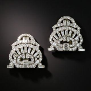 Art Deco Platinum Diamond Double Clips - 2