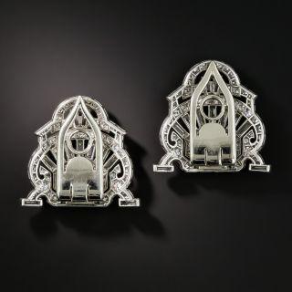 Art Deco Platinum Diamond Double Clips - Gustav Manz