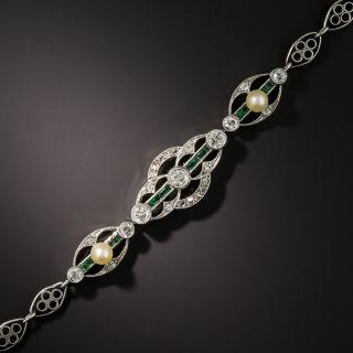 Art Deco Platinum Diamond Emerald and Natural Pearl Bracelet - 3