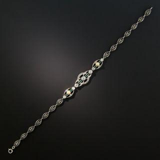 Art Deco Platinum Diamond Emerald And Natural Pearl Bracelet