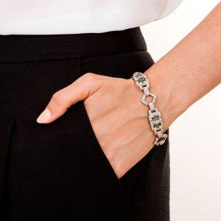 Art Deco Platinum Diamond, Emerald and Onyx Bracelet