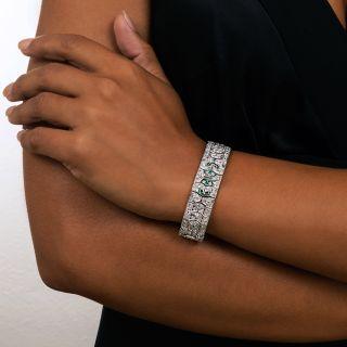 Art Deco Platinum Diamond Emerald Green Glass Bracelet