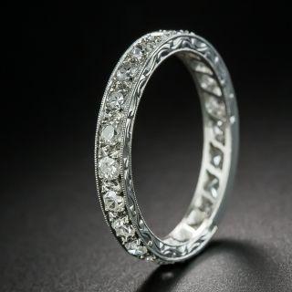 Art Deco Platinum Diamond Engraved Eternity Band, Size 7 1/2 - 1
