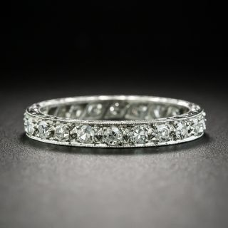 Art Deco Platinum Diamond Engraved Eternity Band, Size 7 1/2