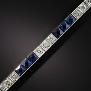 Art Deco Platinum Diamond No-Heat Sapphire Line Bracelet - 2